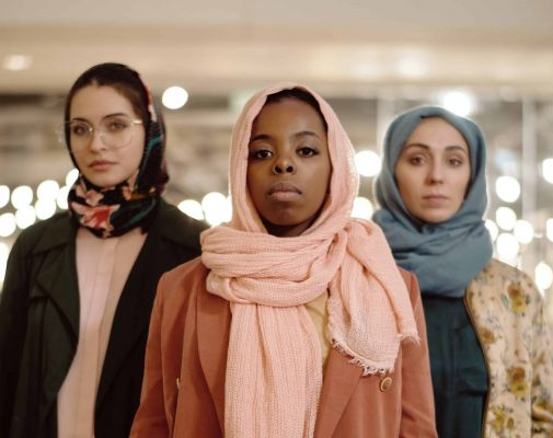 Multi-ethnic group of contemporary muslim women posing confidently representing diversity and empowerment