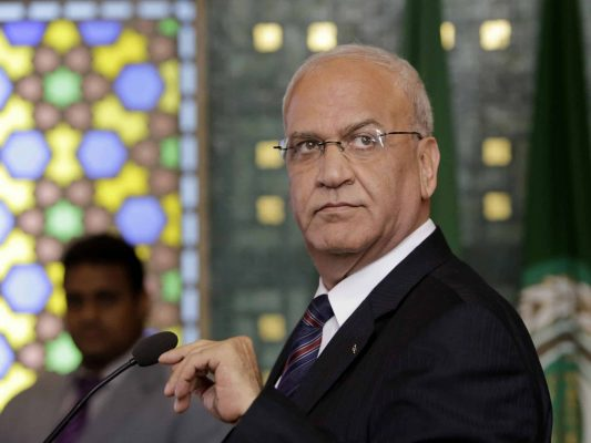 """FILE - In this Aug. 11, 2014 file photo, Palestinian negotiator, Saeb Erekat, speaks during a press conference, following an emergency meeting at the Arab League headquarters in Cairo, Egypt. Palestinians are increasingly questioning their leaders' strategy of reaching statehood through negotiations with Israel after more than two decades of failures. A majority believes that the """"two-state solution"""" to the Israeli-Palestinian conflict is no longer possible, despite pledges by President Donald Trump that he would try to broker a deal. (AP Photo/Amr Nabil, File)"""